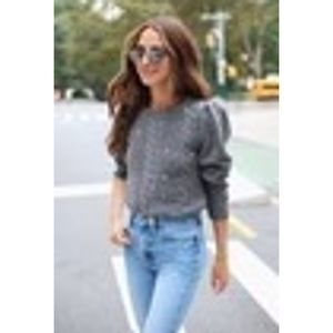 Something Navy Jewel Deco Cable Knit Sweater